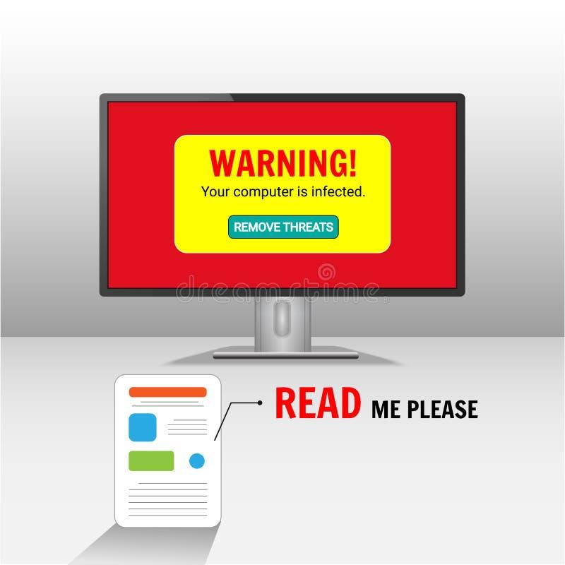 Il computer è infettato, problema manuale della correzione dell'utente illustrazione di stock