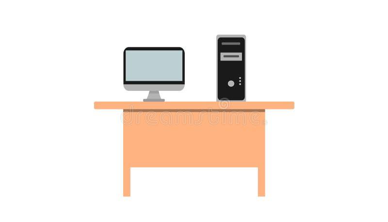 Il computer è situato su uno scrittorio di legno marrone Priorità bassa bianca royalty illustrazione gratis