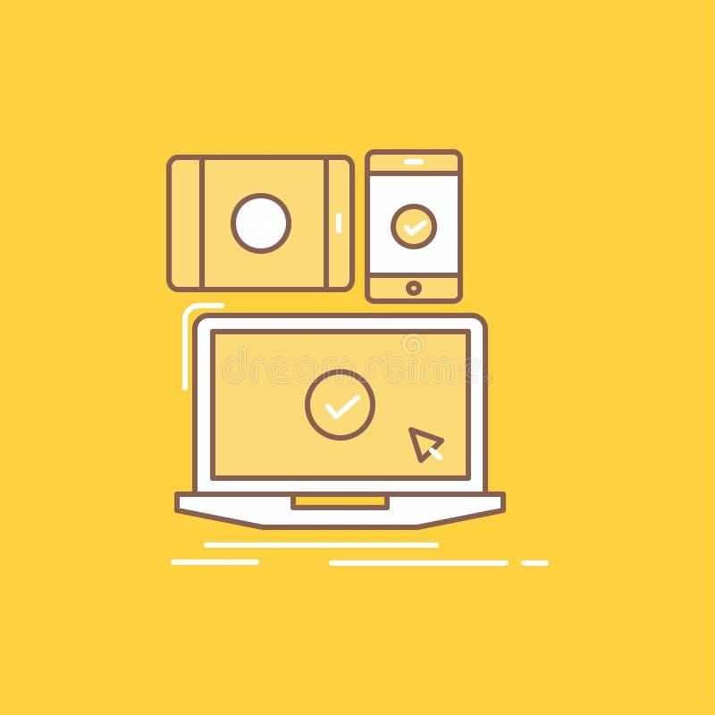 il computer, dispositivi, mobile, rispondenti, linea piana della tecnologia ha riempito l'icona Bello bottone di logo sopra fondo royalty illustrazione gratis