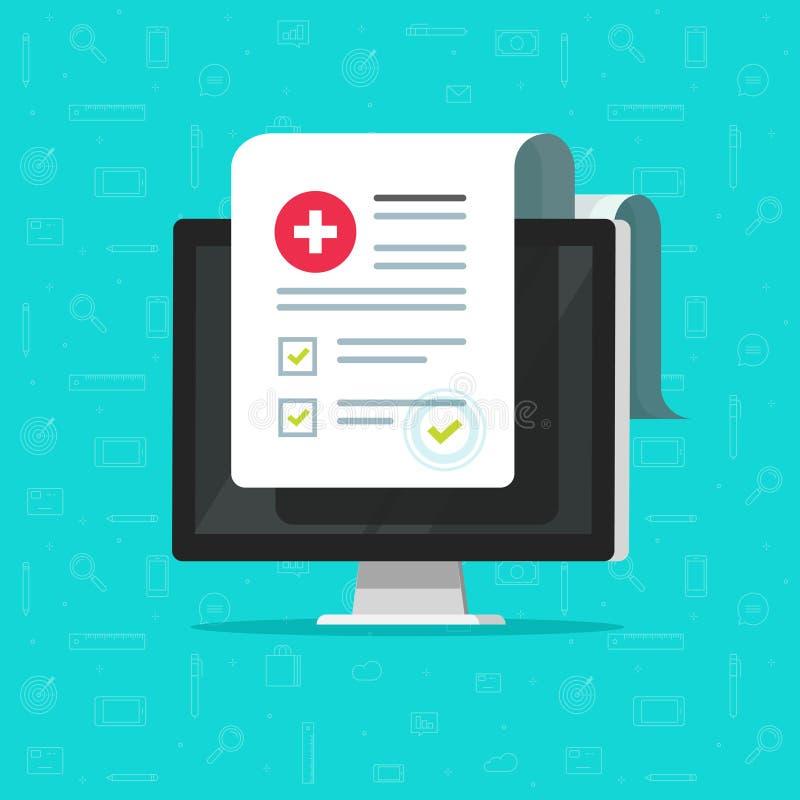 Il computer e la forma medica elencano, dati di risultati e vettore approvato del segno di spunta, documento clinico elettronico  illustrazione vettoriale