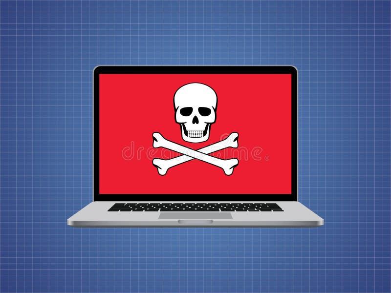 Il computer ha inciso con il simbolo del cranio e l'allarme del pericolo illustrazione vettoriale