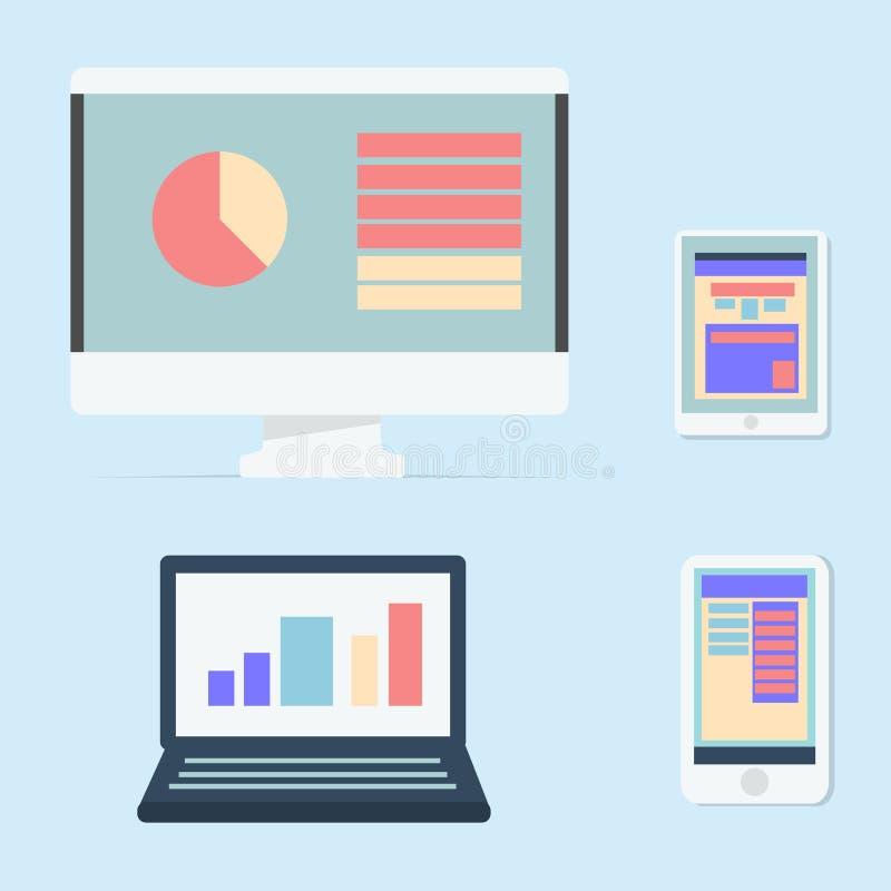 Il computer, il computer portatile, la compressa e lo Smart Phone hanno isolato il fondo blu illustrazione vettoriale