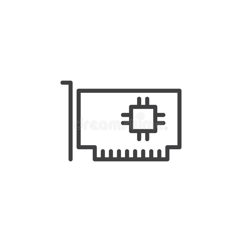 Il computer parte, linea icona, segno dell'hardware di vettore del profilo illustrazione di stock