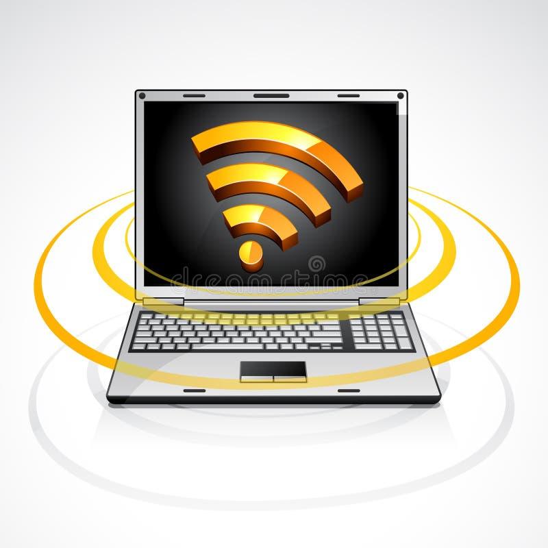 Il computer portatile con i rss alimenta il simbolo illustrazione vettoriale