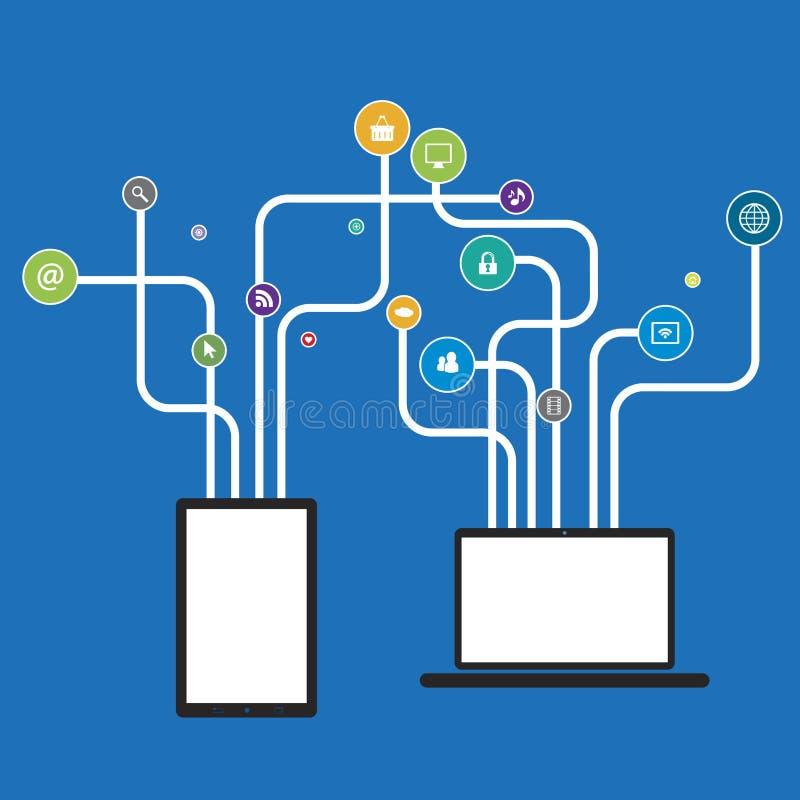 Il computer portatile e la compressa con le linee hanno modellato gli alberi con i media sociali illustrazione vettoriale