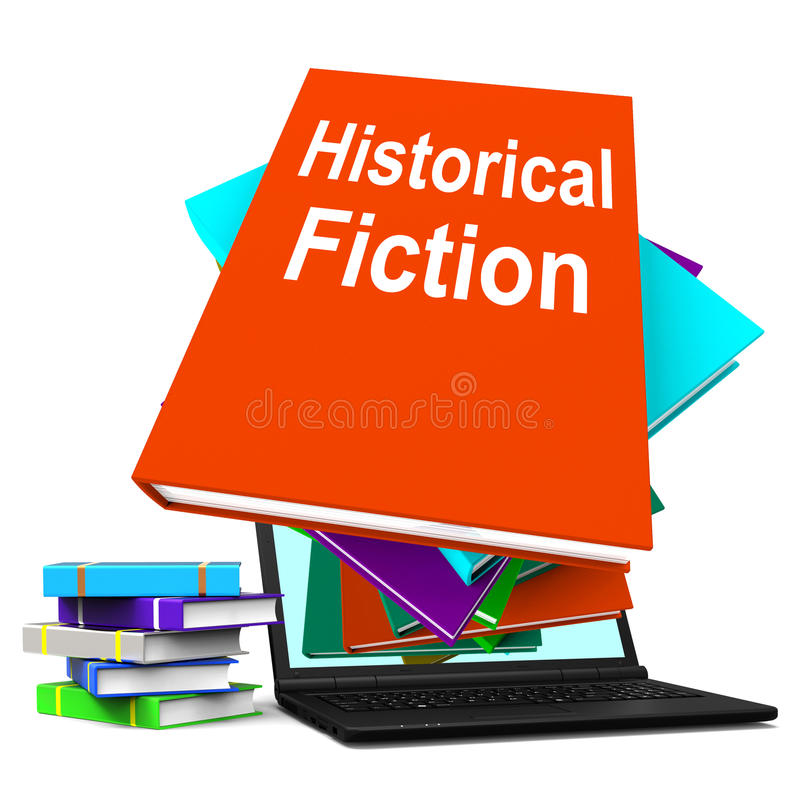 Il computer portatile storico della pila di libro di romanzo significa i libri dalla storia illustrazione vettoriale