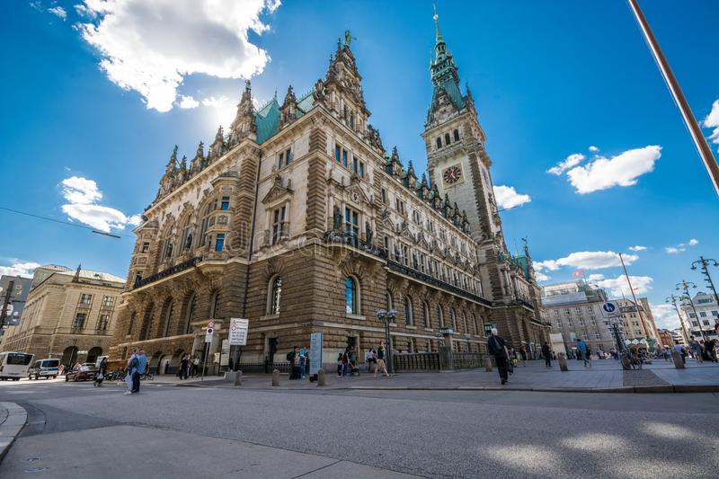 Il comune di Amburgo è il sedile dell'ente locale della città libera e Hanseatic di Amburgo, Germania immagini stock libere da diritti