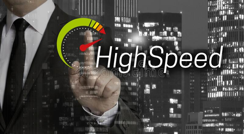 Il concetto ad alta velocità è indicato dall'uomo d'affari immagini stock