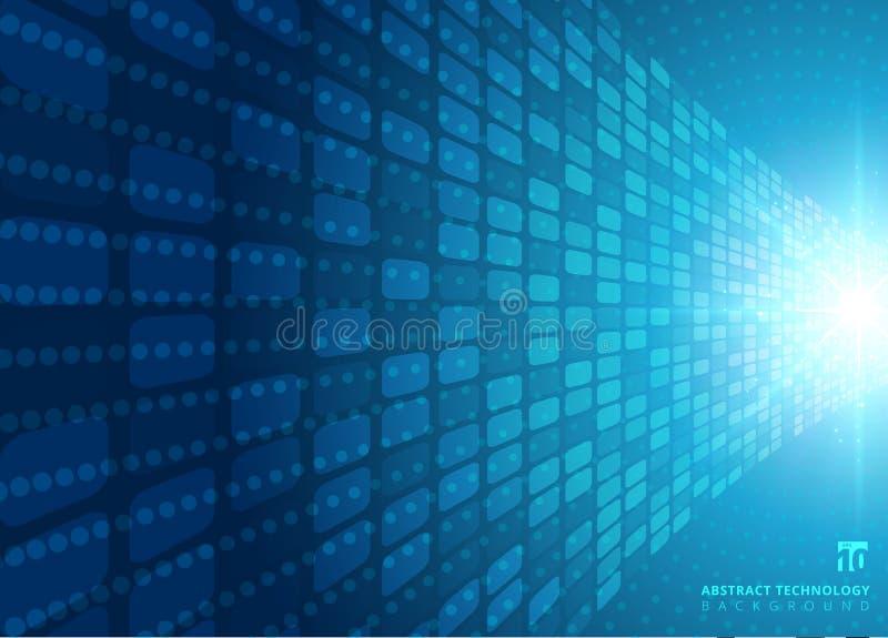Il concetto astratto della tecnologia con luce radiale al neon blu ha scoppiato E-F illustrazione di stock
