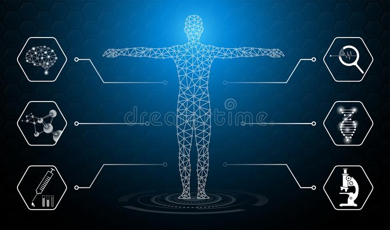 Il concetto astratto della tecnologia del fondo alla luce blu, il cervello ed il corpo umano guariscono illustrazione di stock
