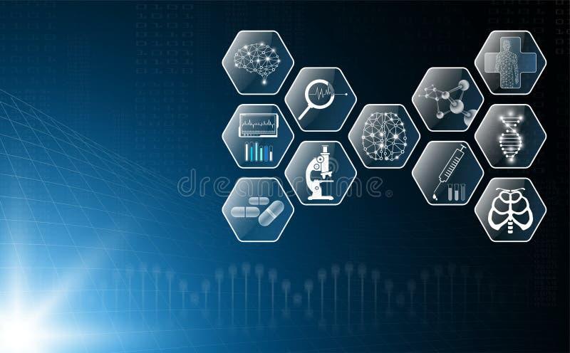 Il concetto astratto della tecnologia del fondo alla luce blu, il cervello ed il corpo umano guariscono royalty illustrazione gratis