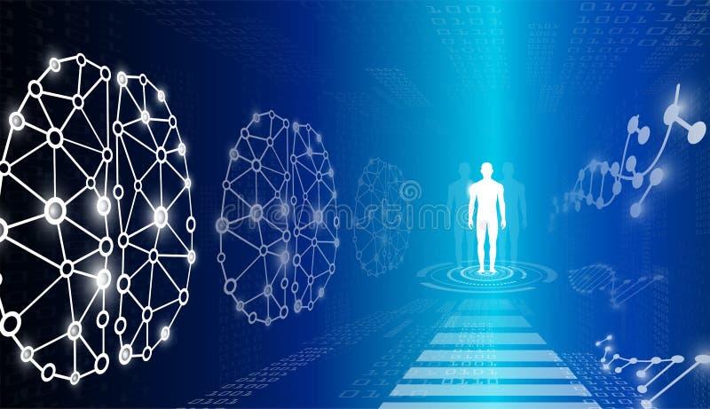 Il concetto astratto della tecnologia del fondo alla luce blu, il cervello ed il corpo umano guariscono illustrazione vettoriale