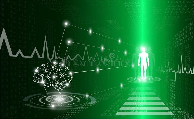 Il concetto astratto della tecnologia del fondo nella luce verde, corpo umano guarisce illustrazione di stock