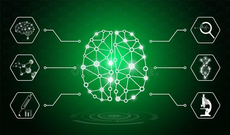 Il concetto astratto della tecnologia del fondo nella luce verde, corpo umano guarisce illustrazione vettoriale