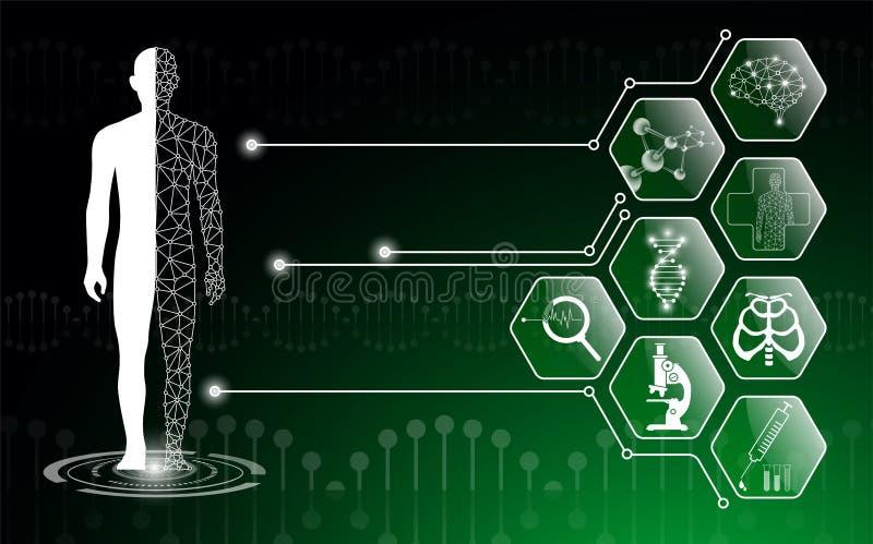 Il concetto astratto della tecnologia del fondo nella luce verde, corpo umano guarisce royalty illustrazione gratis