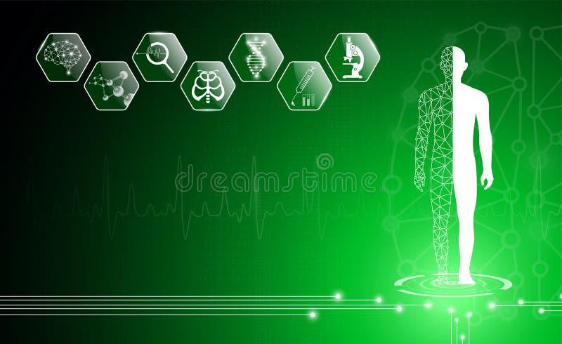 Il concetto astratto della tecnologia del fondo nella luce verde, corpo umano guarisce fotografie stock libere da diritti