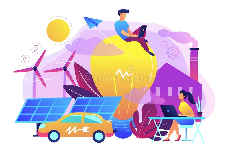 Il concetto astuto astuto della città delle centrali elettriche IoT e di energia vector il ill illustrazione di stock