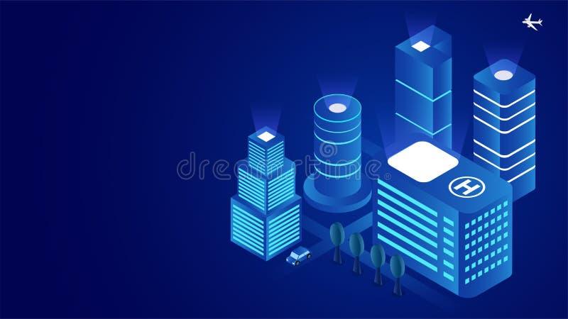 Il concetto astuto futuristico della città ha basato la progettazione isometrica con le costruzioni del grattacielo illustrazione vettoriale