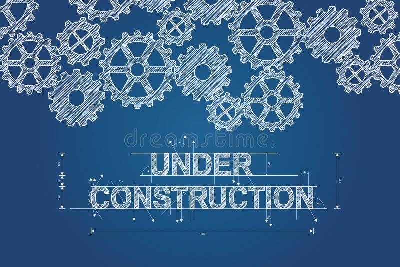 Il concetto in costruzione del modello ha schizzato il disegno con gli ingranaggi illustrazione vettoriale