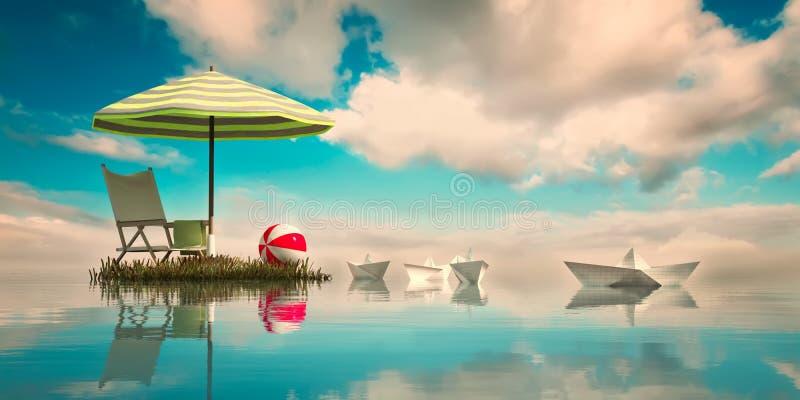 il concetto degli elementi della spiaggia illustrazione di stock