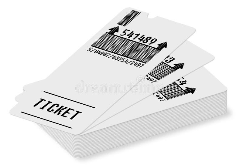 Il concetto del biglietto - immagine su fondo bianco per la selezione facile - codice a barre e numeri di codice completamente si illustrazione vettoriale