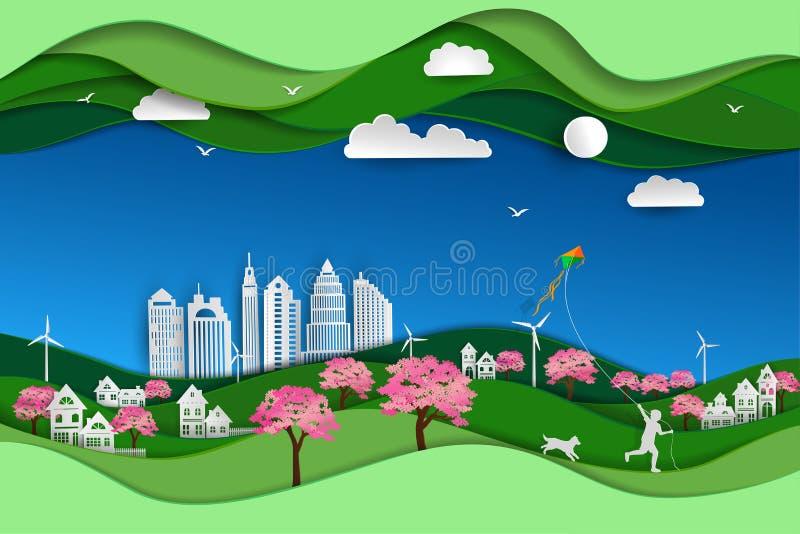 Il concetto del eco amichevole e conserva l'ambiente con il fondo verde di scena di arte della carta del paesaggio della natura illustrazione vettoriale