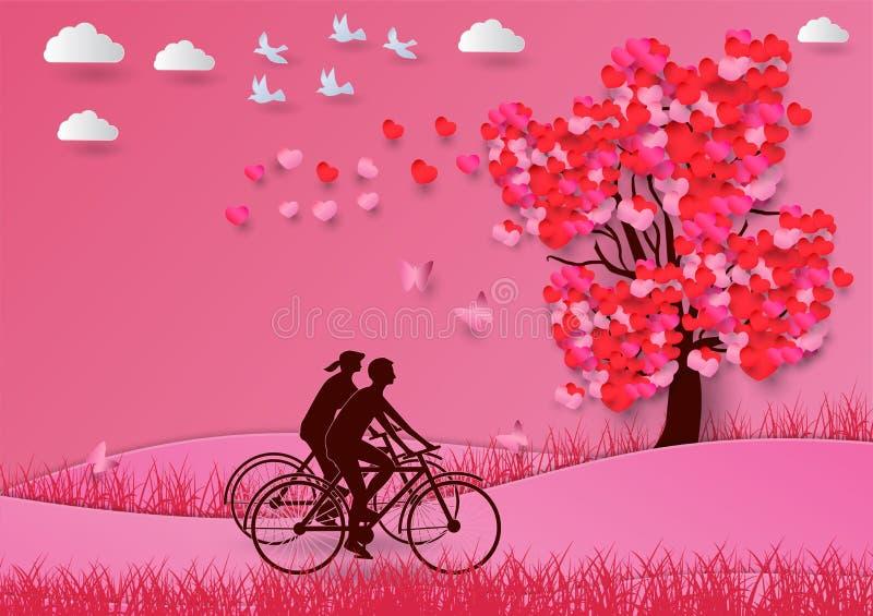 Il concetto del giorno di S. Valentino, con un albero a forma di cuore e gli amanti guidano l'arte della bicicletta e lo stile di illustrazione di stock