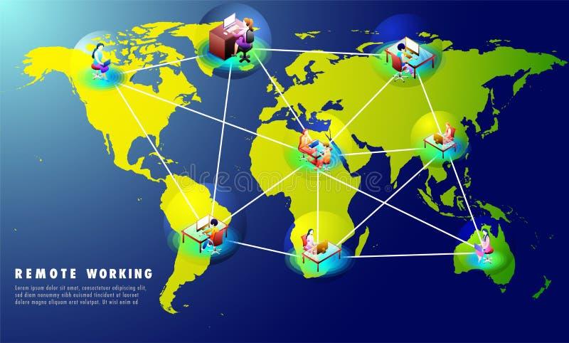 Il concetto del lavoro a distanza ha basato la progettazione del modello del sito Web con multip royalty illustrazione gratis