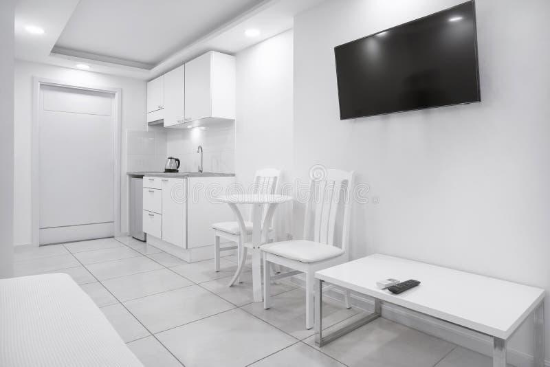 Il concetto del salone moderno utilizza lo spazio per il piccolo modello dell'appartamento fotografia stock libera da diritti
