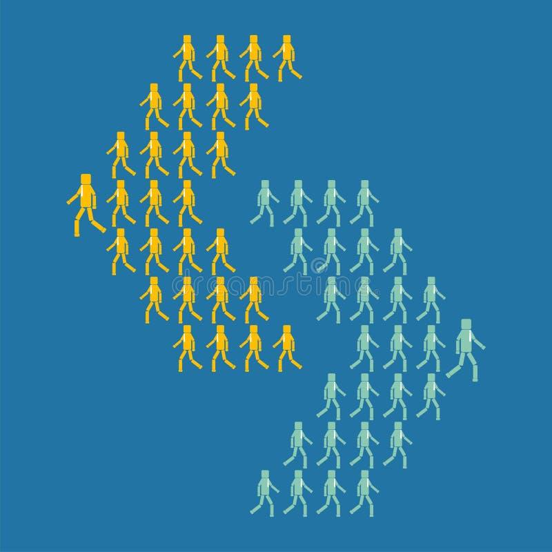 Il concetto dell'affare o dell'opposizione politica Due gruppi di persone vanno nelle direzioni differenti illustrazione di stock