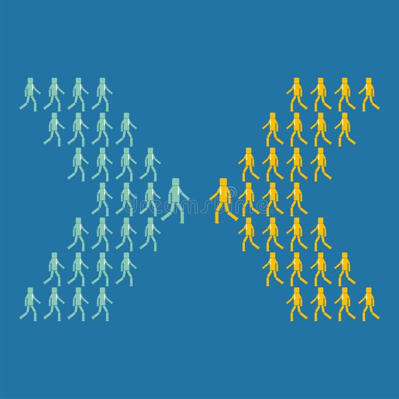Il concetto dell'affare o dell'opposizione politica Due gruppi di persone vanno nelle direzioni differenti illustrazione vettoriale