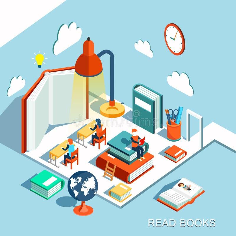 Il concetto dell'apprendimento, ha letto i libri nella biblioteca, progettazione piana isometrica illustrazione vettoriale