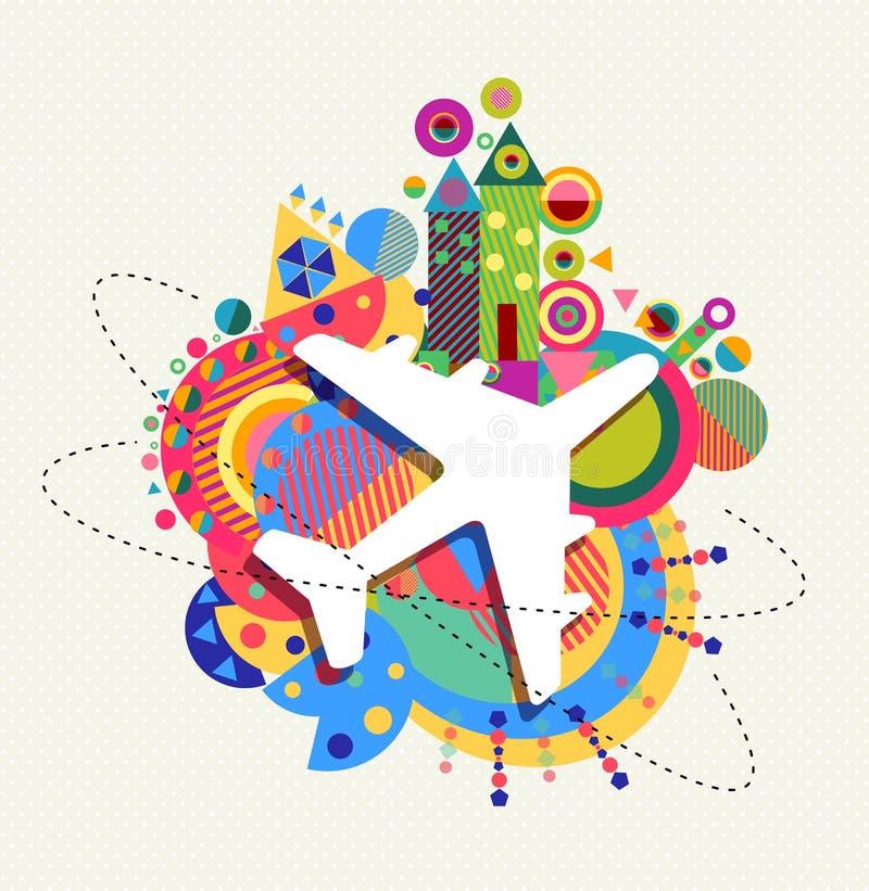 Il concetto dell'icona di viaggio dell'aereo di aria con colore modella illustrazione di stock