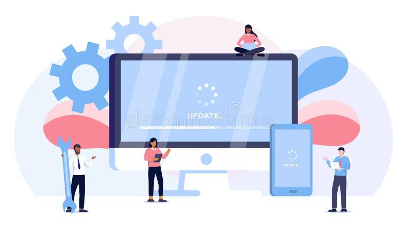 Il concetto dell'illustrazione di vettore dell'aggiornamento del sistema, sistema di esercizio dell'aggiornamento della gente può royalty illustrazione gratis
