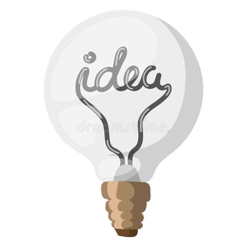 Il concetto dell'illustrazione di vettore della lampada di idea ha isolato la soluzione di simbolo dell'elettricità delle risorse royalty illustrazione gratis