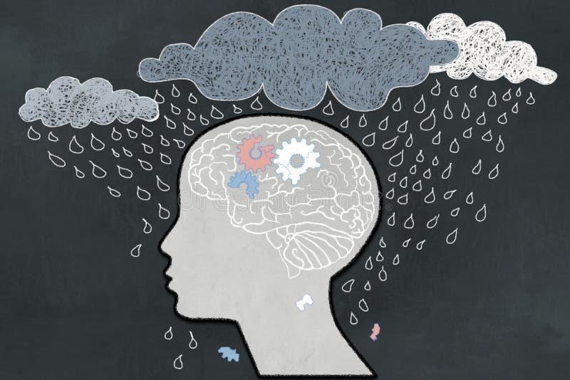 Il concetto della depressione con Heavy Rain direttamente ha puntato sul profilo umano depressivo con un cervello rotto Illustrat illustrazione di stock