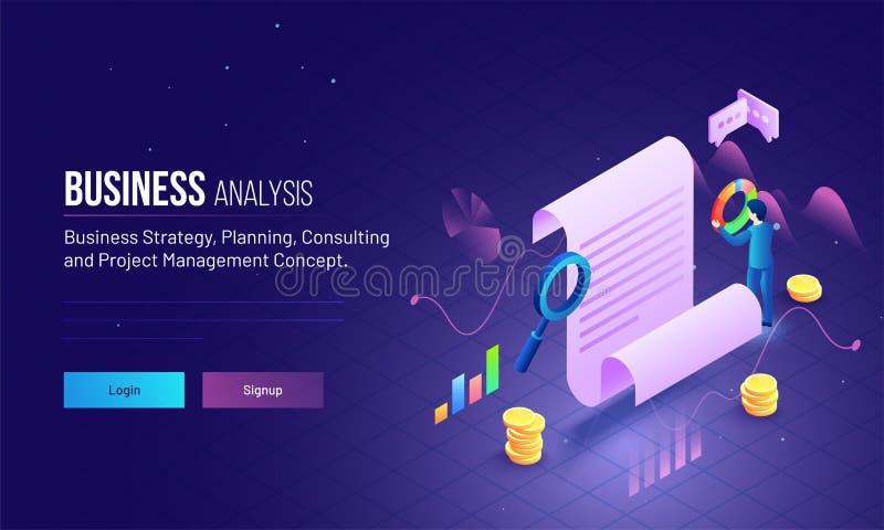 Il concetto della gestione di progetti o di analisi commerciale ha basato il PA d'atterraggio illustrazione di stock