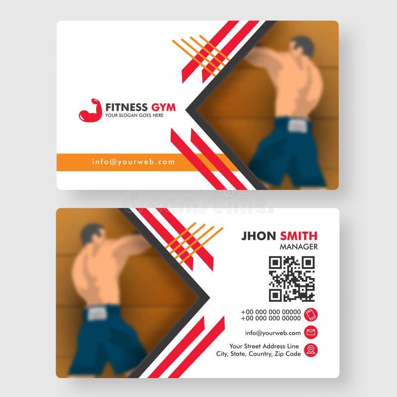 Il concetto della palestra di forma fisica ha basato la progettazione di biglietto da visita del club di forma fisica illustrazione vettoriale