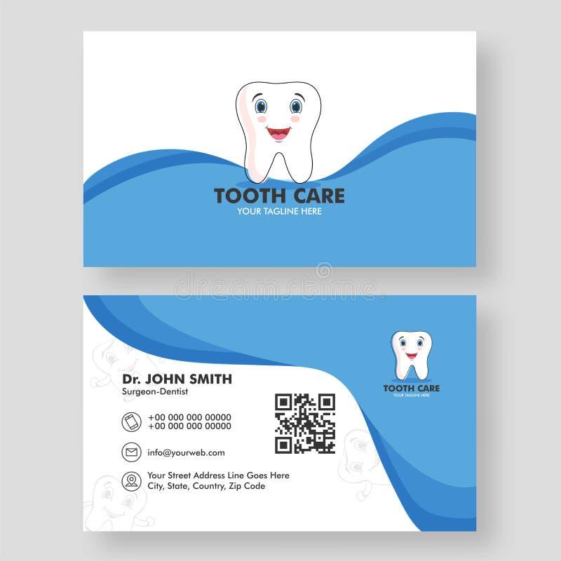 Il concetto dentario della clinica ha basato la progettazione di biglietto da visita di cura del dente illustrazione di stock