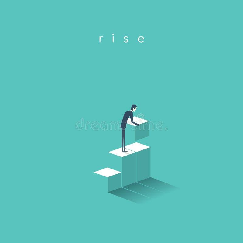 Il concetto di affari della crescita, successo con la costruzione dell'uomo d'affari fa un passo per la sua carriera corporativa illustrazione vettoriale