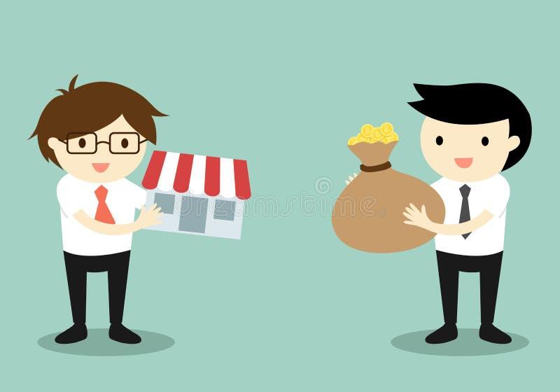 Il concetto di affari, due uomini d'affari scambia i soldi e compera illustrazione vettoriale