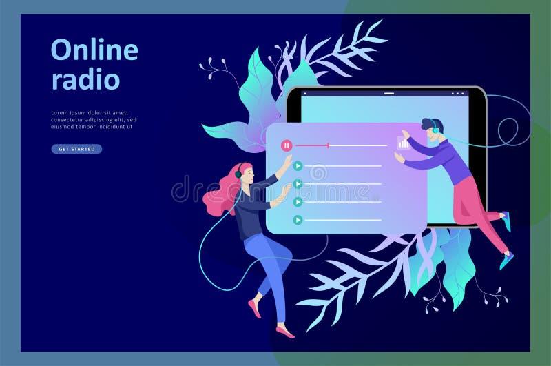 Il concetto di ascolto scorrente radiofonico online di Internet, la gente si rilassa per ascoltare ballo Applicazioni di musica,  illustrazione di stock