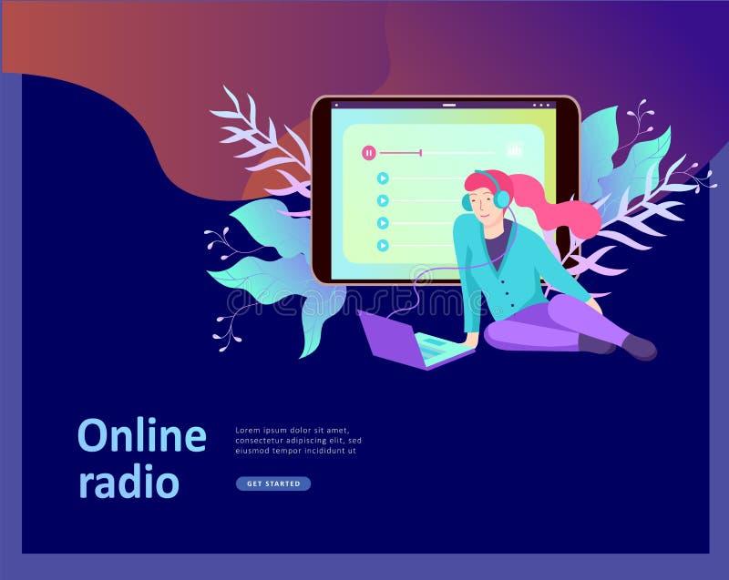 Il concetto di ascolto scorrente radiofonico online di Internet, la gente si rilassa per ascoltare ballo Applicazioni di musica,  illustrazione vettoriale