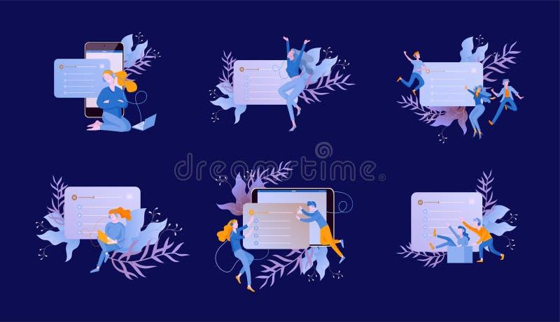 Il concetto di ascolto scorrente radiofonico online di Internet, la gente si rilassa per ascoltare ballo Applicazioni di musica,  royalty illustrazione gratis