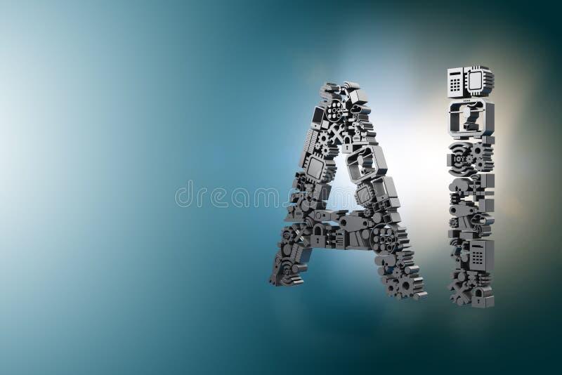 Il concetto di calcolo moderno di intelligenza artificiale - rappresentazione 3d royalty illustrazione gratis