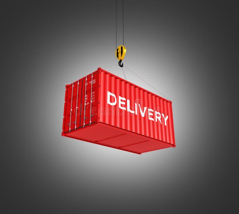 Il concetto di caricamento del container di carico la gru solleva il contenitore con una consegna dell'iscrizione sul fondo poste illustrazione di stock