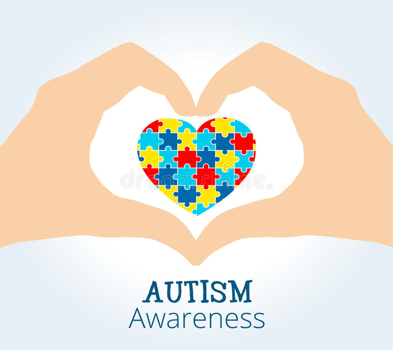 Il concetto di consapevolezza di autismo con le mani che tengono il cuore del puzzle collega royalty illustrazione gratis