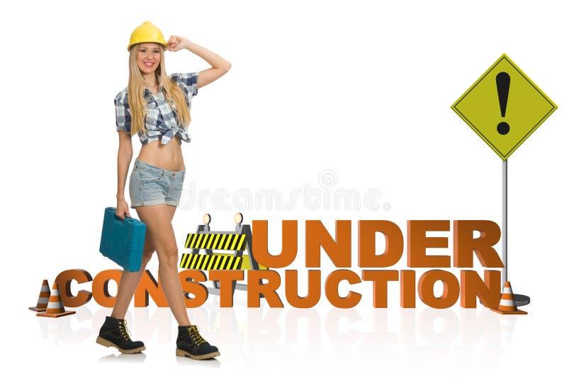 Il concetto di in costruzione per la vostra pagina Web fotografia stock