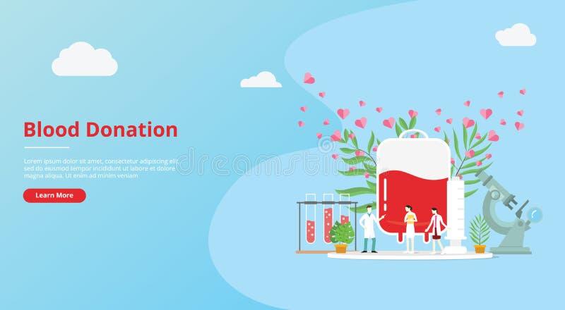 Il concetto di donazione di sangue per l'insegna del modello del sito Web con la gente ed i sangue insaccano con il segno di amor illustrazione di stock