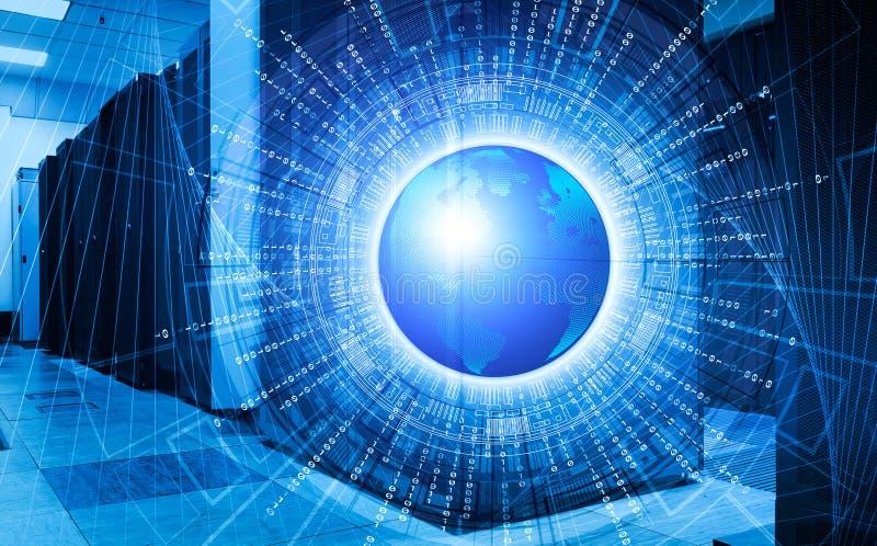 Il concetto di grandi dati intorno a pianeta Terra con il supercomputer ragruppa nella stanza del centro dati moderno illustrazione vettoriale